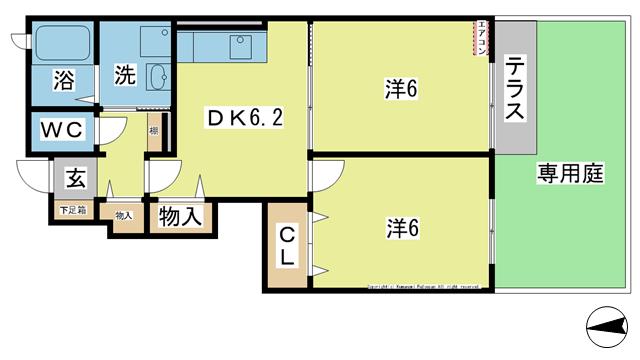物件番号: 1025100935 サンリットスクエアA棟  日田市上城内町 2DK コーポ 間取り図