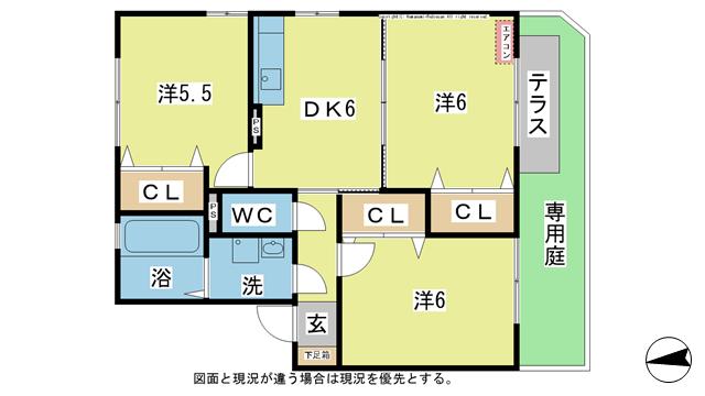 物件番号: 1025100988 カーサSetoB棟  日田市大字三和天神町 3DK ハイツ 間取り図