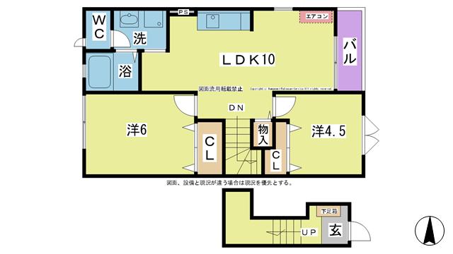 物件番号: 1025101252 カントリーサイド  日田市田島2丁目 2LDK ハイツ 間取り図