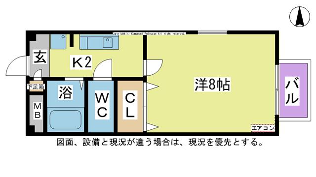 物件番号: 1025101253 アウローラハイツ  日田市東町 1K ハイツ 間取り図