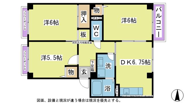 物件番号: 1025101400 クローバーA棟  日田市吹上町 3DK ハイツ 間取り図