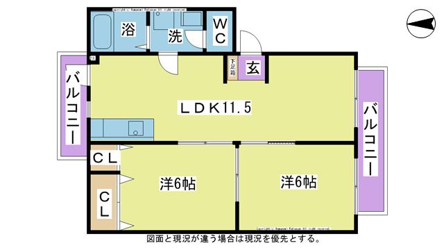 物件番号: 1025101472 ドミールたかくら  日田市大字三和清水町 2LDK ハイツ 間取り図