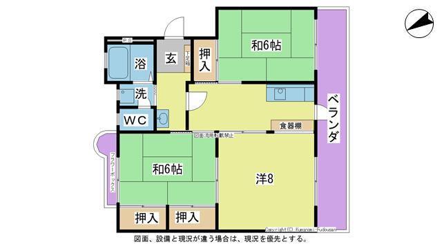 物件番号: 1025101935 コーポなかの2  日田市南元町 3K マンション 間取り図