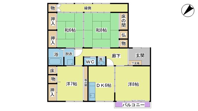 物件番号: 1025102250  日田市元町 4DK マンション 間取り図