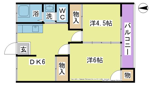 物件番号: 1025102285 グリーンコーポ樋口  日田市大字三和財津町 2DK アパート 間取り図