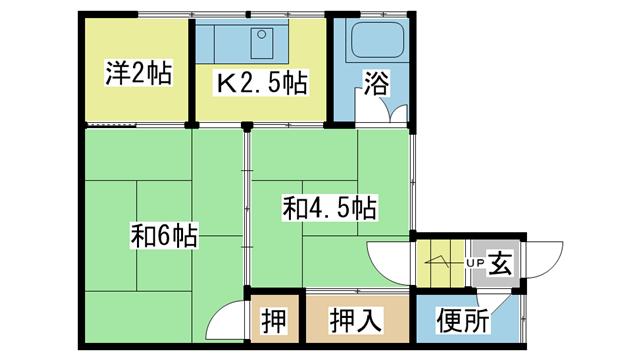 物件番号: 1025102415 藤アパート  日田市若宮町 3K アパート 間取り図