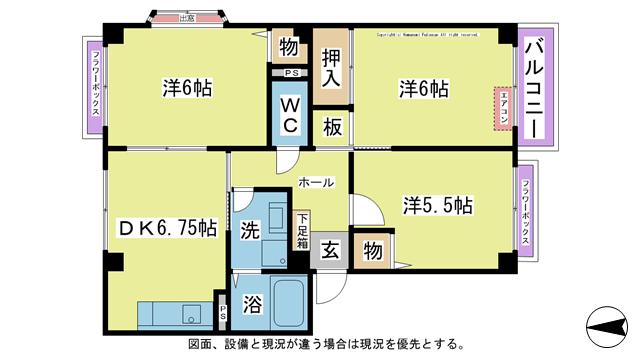 物件番号: 1025102518 クローバーC棟  日田市吹上町 3DK ハイツ 間取り図