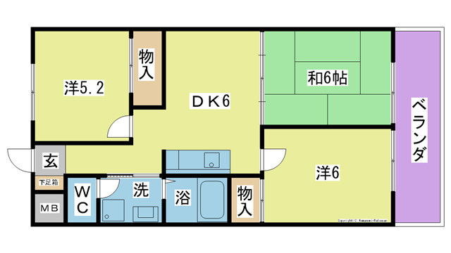 物件番号: 1025102672  日田市城町1丁目 3DK マンション 間取り図
