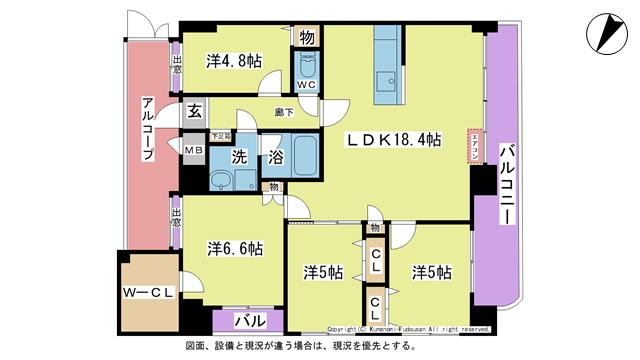物件番号: 1025102907 パルデンスエコノ7  日田市中央2丁目 4LDK マンション 間取り図
