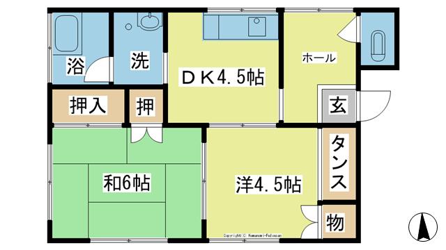 物件番号: 1025103060 田中アパート  日田市三本松新町 2DK アパート 間取り図