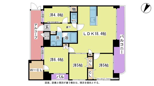物件番号: 1025103248 パルデンスエコノ7  日田市中央2丁目 4LDK マンション 間取り図