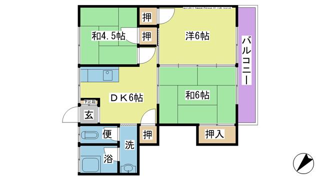 物件番号: 1025103396 ハイツナガセ  日田市大字庄手日ノ隈町 3DK アパート 間取り図
