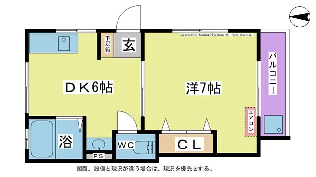 物件番号: 1025103752 グリーンハイツ河野  日田市中城町 1DK コーポ 間取り図