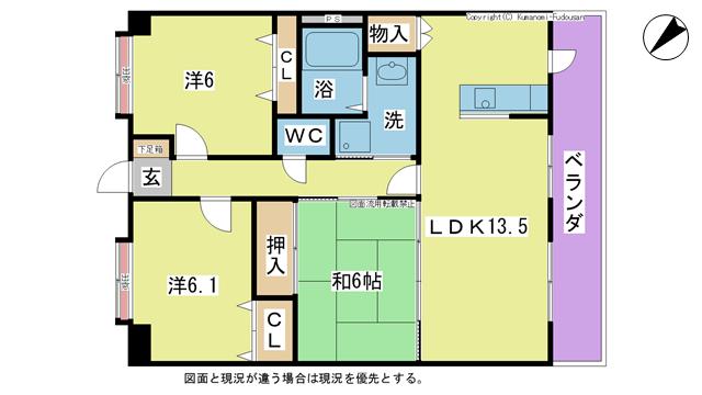 物件番号: 1025103801 パルデンスエコノ2  日田市田島1丁目 3LDK マンション 間取り図