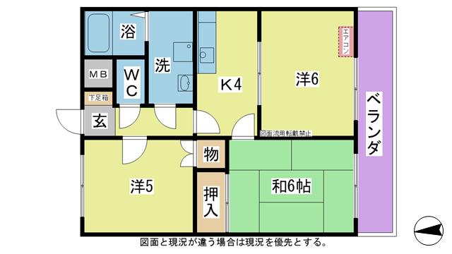物件番号: 1025103903 エピナール長尾  日田市上城内町 3K マンション 間取り図