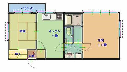物件番号: 1025103920  日田市元町 2DK マンション 間取り図