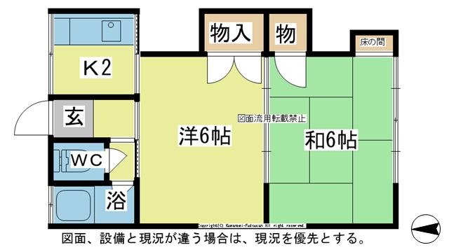 物件番号: 1025103973 コーポ本田2  日田市大字渡里清岸寺町 2K アパート 間取り図