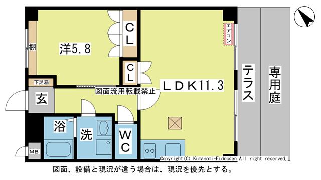 物件番号: 1025104034 Pure Court(ピュアコート)  日田市大字三和財津町 1LDK ハイツ 間取り図