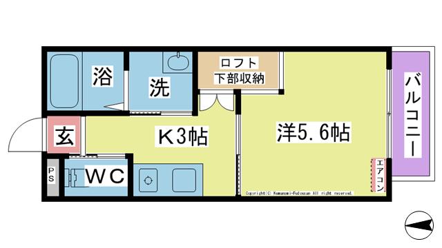 物件番号: 1025104046 カローレ城町  日田市城町2丁目 1K アパート 間取り図