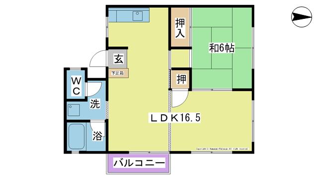 物件番号: 1025104135  日田市三芳小渕町 1LDK コーポ 間取り図