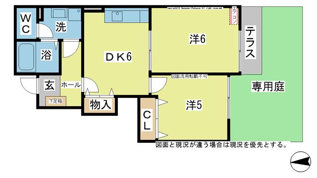 物件番号: 1025104258 オアシスB棟  日田市大字三和清水町 2DK コーポ 間取り図