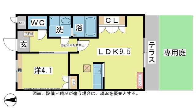 物件番号: 1025104293  日田市大字庄手中釣町 1LDK ハイツ 間取り図