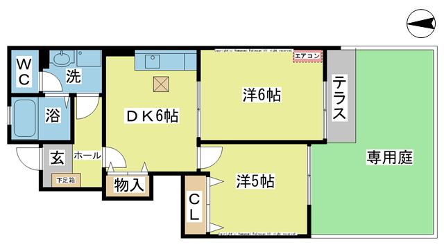 物件番号: 1025104321 コータ・コートB棟  日田市大字花月藤山町 2DK コーポ 間取り図