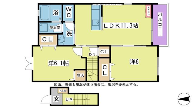 物件番号: 1025104339 清水ソラリアⅡ  日田市大字三和清水町 2LDK コーポ 間取り図