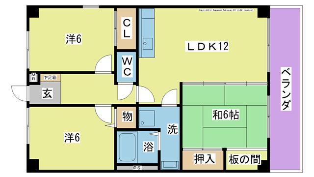 物件番号: 1025104357 TECH田辺  日田市田島本町 3LDK マンション 間取り図