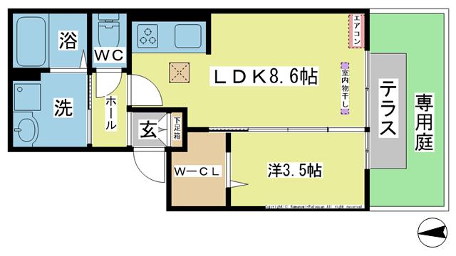 物件番号: 1025104402 カタルパトモダ  日田市大字友田北友田1丁目 1LDK ハイツ 間取り図