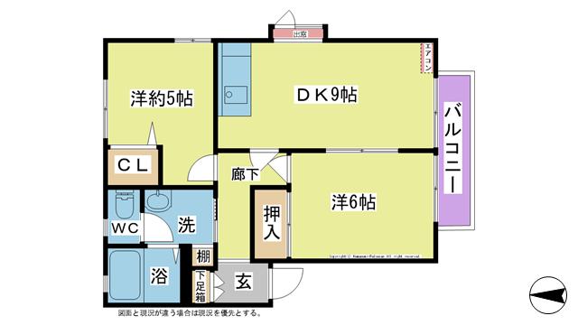 物件番号: 1025104414 ディアス雅  日田市下井手町 2DK ハイツ 間取り図