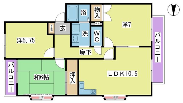 物件番号: 1025104422 Gハウス B棟  日田市吹上町 3LDK コーポ 間取り図