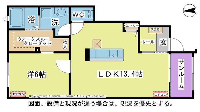 物件番号: 1025104471 ラ・カーザ ドルチェⅡ  日田市吹上町 1LDK コーポ 間取り図