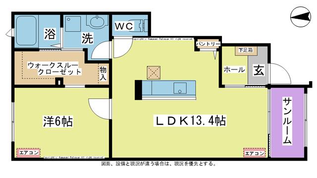 物件番号: 1025104473 ラ・カーザ ドルチェⅡ  日田市吹上町 1LDK コーポ 間取り図