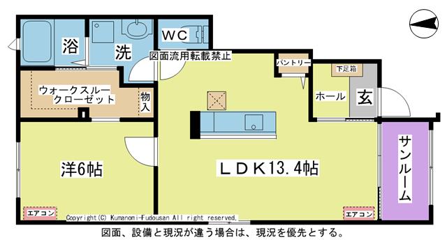 物件番号: 1025104474 ラ・カーザ ドルチェⅡ  日田市吹上町 1LDK コーポ 間取り図