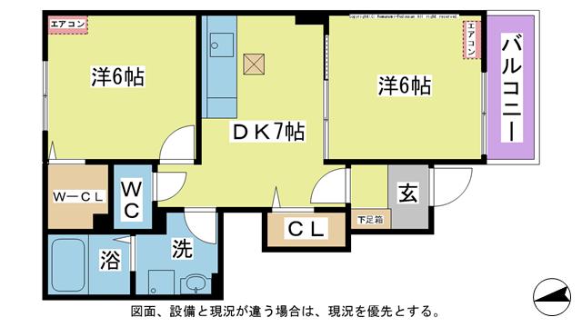 物件番号: 1025104484 ラ・カーザ ドルチェⅢ  日田市吹上町 2DK ハイツ 間取り図