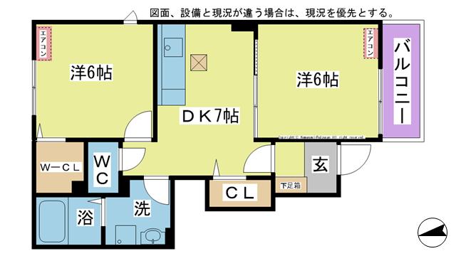 物件番号: 1025104485 ラ・カーザ ドルチェⅢ  日田市吹上町 2DK ハイツ 間取り図
